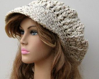 Newsboy hat, Visor Hat, billed Slouchy Beanie, newsboy cap, Billed aran Tweed Cap, slouchy billed beanie, slouchy hat with visor woman man