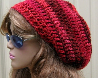 Mixed Berries slouchy beanie. slouchy hat, red Tam hat, Dread Hippie hat, Slouchy Crochet Beanie, woman Hat, soft slouch beanie, winter hat