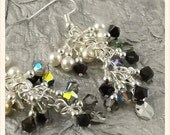Stormborn Bijoux Collection multicolor black and metallic silver finish Swarovski Crystal cascade french hook earrings