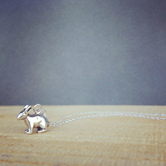 sterling silver bunny charm necklace charitable donation bunny rescue gift for her