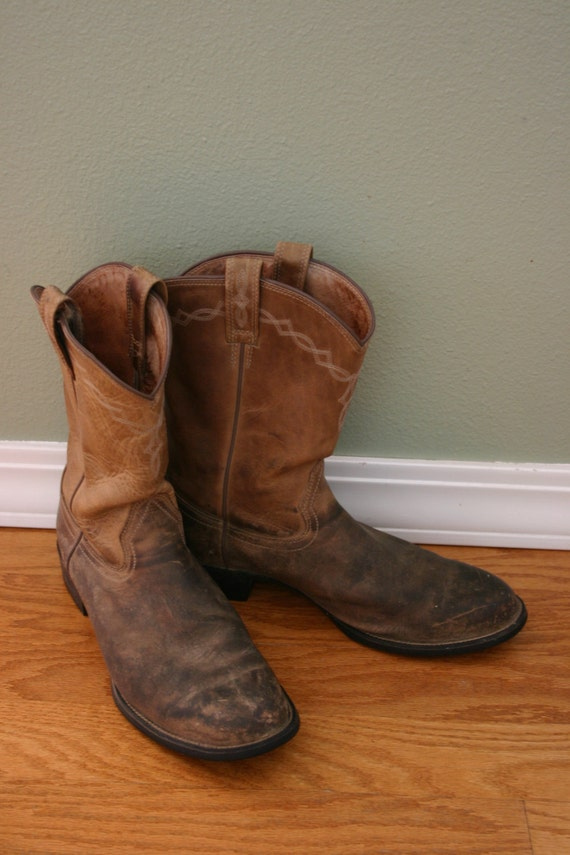vintage mens leather ariat cowboy boots usa size 12 d with