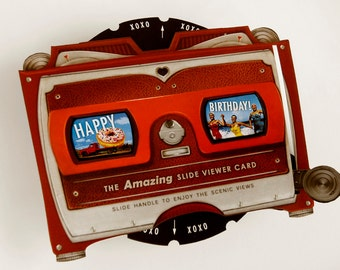 "Happy Birthday Pop Up Card. Scenic Retro Pool Party View-tastic Slide Viewer. Kitsch gift! More Info? Scroll & Read ""Item Details"""