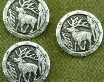 Detailed Animal Antlers Elk, Deer, antique Silver Buttons   E26