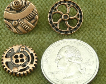 5/8    Steampunk  Mixed Pack of Gear Gadget and Flywheel Antique Copper Buttons