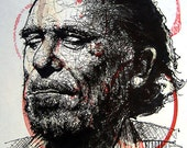 """Print 5x7"""" - Charles Bukowski - Poetry Alcohol Wine Beer Sex Hollywood Los Angeles Drunk Bar Books Writing Reading Hipster Lowbrow Pop"""