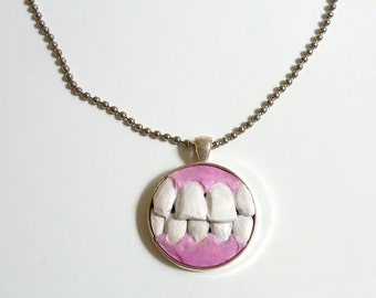 Teeth dental pendant necklace