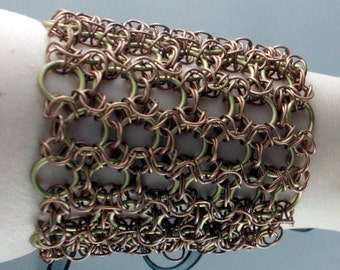 Brass and copper chainmaille bracelet with a ribbon