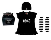 My Mom Rocks Punk Rock Baby or Toddler Girl Gift Set black mini dress You Choose leg warmers and Image Girls Rock Skull