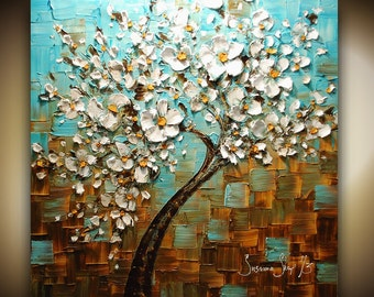 ORIGINAL Large Tree Painting Abstract White Cherry Blossom Oil Thick Texture Turquoise & Brown Gallery Fine Art 30x30 Made2Order