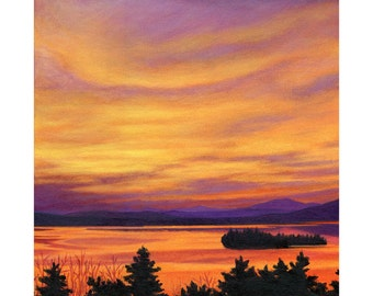 Art Print -Rangeley Lake in November, 12 x 12 size