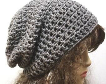 Mens Slouchy Beanie Hipster Hat Crochet Hippie Beanie Oversized Hat gray