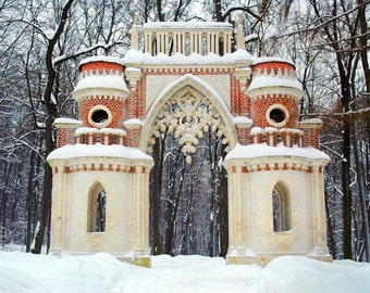 Ancient architecture. Brick Tsaritsyno Forest Entrance. Moscow, Russia. Fairytale.