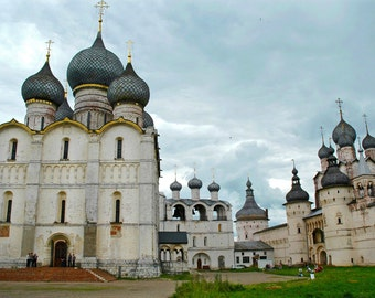 Architectural landscape photography. Rostov Kremlin. Onion domes. Rostov, Russia.  8x12 print