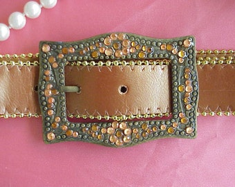 Womens Vintage Leather Belt with LargeStone Studded Buckle