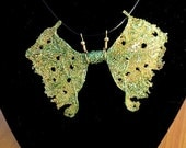 Fairy Wings Jewelry-Ooak-Necklace-Green Fairy