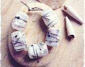 "Handmade lampwork glass bead set by Lori Lochner ""Rustic birch bark barrels"" 5 beads"