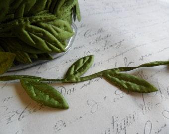 Extra Large Olive Green Trailing Vine of Leaves Ribbon Trim