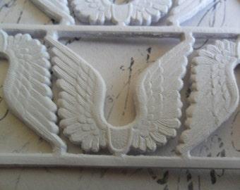 matte White German Dresden Scrap Angel Wings