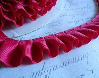 Hot Pink Grosgrain Box Pleat  Ruffle 7/8 wide ribbon trim