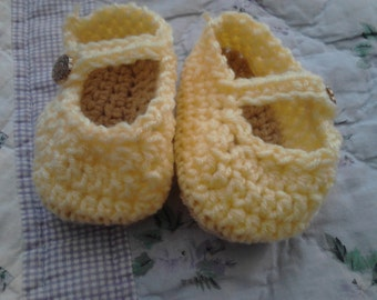 Large Mary Jane Style Baby Booties Yellow