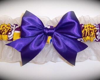 Handmade Wedding Keepsake Garter Los Angeles Lakers Bridal pg1