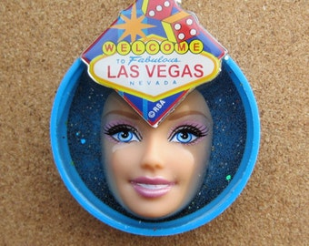 SALE -Welcome to Fabulous Las Vegas -upcycled Barbie bottle cap necklace