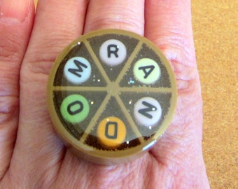 RANDOM - upcycled Trivial Pursuit Ring