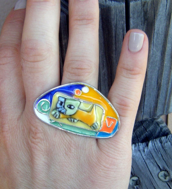 Pi-CAT-so Statement Art Ring