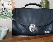 DISCOUNT vintage 1980's enrico benetti faux leather briefcase/handbag