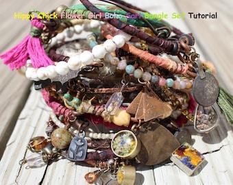TUTORIAL for Hippy Chick Flower Girl Boho Sari Bangle Bracelets Set ON SALE For A Limited Time