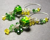 Green yellow cluster dangle earrings artisan boro lampwork beads sterling silver swarovski crystals - JONQUIL