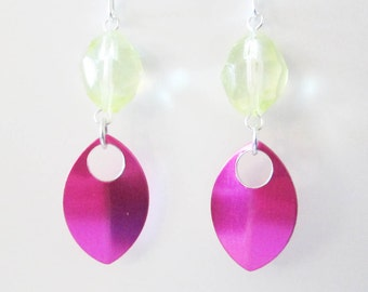 Pale Yellow with Hot Pink Scale Earrings Handmade