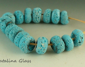 Lampwork Glass Beads SRA by Catalina Glass Turquoise Antiquity Spacers