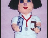 Nurse Nonny Crochet Pattern, nurse crochet, nurse doll, nurses day