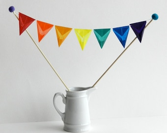 Cake Topper - for Wedding Cake, Mother's Day, Birthday Party, Mini Bunting - Handmade with Rainbow Color Kite Paper and Wool Felt