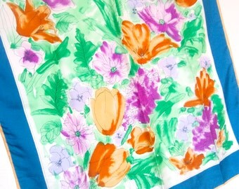 Spring Garden Watercolor - a vintage 1980's hand-painted Vera Neumann pure silk scarf -  tout soie - 32 inches