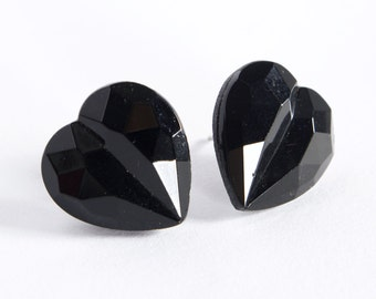 black heart faceted vintage glass button earring