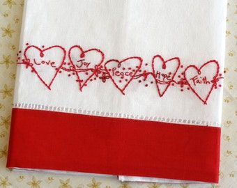 Valentine Hearts Redwork Linen Towel Hand Embroidery Pattern Kit