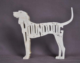 Hunting Dog Hound Dog Puzzle Wooden Toy Hand Cut with Scroll Saw