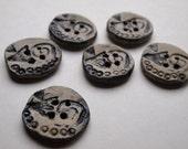 Six Black Bird Buttons