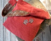 Leopard Paw Prints Embroidered Hobo Shoulder Bag