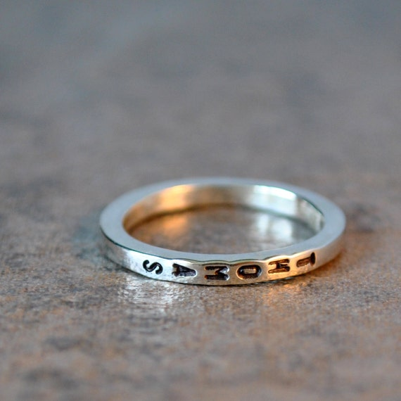 Private Listing for Susan - skinny stacking name ring - sterling silver and vertical letters, stacker ring