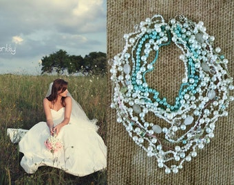Summer Weddings Chunky Necklace, Blue Pearl Bridal Necklace, Crystal Pearl Wedding Jewelry, Bridal Accessories