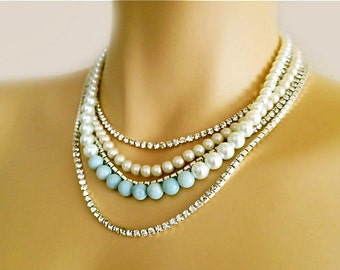 Blue Bridal Necklace, Swarovski Pearl Wedding Necklace, Blush and Something Blue, Necklace for The Bride, Layered Statement Wedding Jewelry