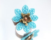 Blue Flower Riveted Ring Metal Band Ring One-of-a-Kind Original