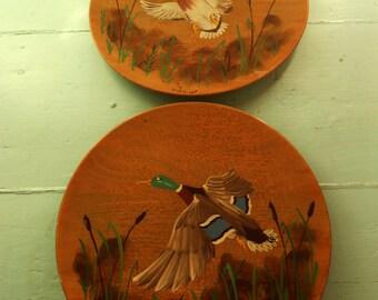 2 Vintage 1952 Wooden Margaret Studios Plates with Mallard Ducks - Antigo, Wisconsin