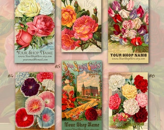 Vintage Victorian Flower Seed Catalog Business Cards By Vintage Bella Professionally Printed