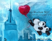 Pandas Kissing Illustration. Art. Two Pandas Kissing while Flying over NYC. Wedding Gift.  Anniversary Gift. Poster - Fly Me to the Moon