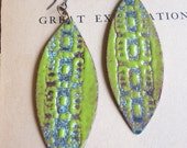 Chartreuse and Aqua Enamel Earrings