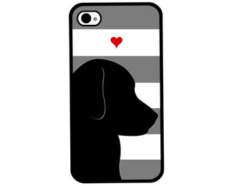 Phone Case - Puppy Dog Love Striped - Hard Case for iPhone 4, 4s, 5, 5s, 5c, SE, 6, 6 Plus, 7, 7 Plus - iPod Touch 4, 5/6 - Galaxy